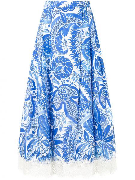 Расклешенная ажурная синяя юбка миди на молнии Andrew Gn