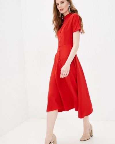 Прямое красное платье А-силуэта Elardis