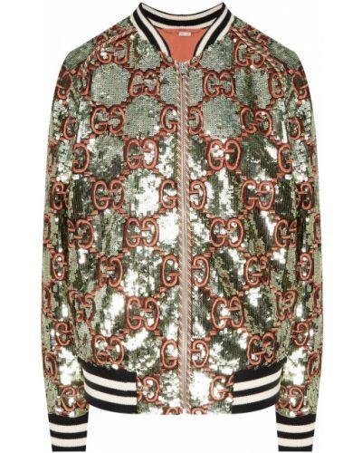 Бомбер с вышивкой на молнии с воротником Gucci