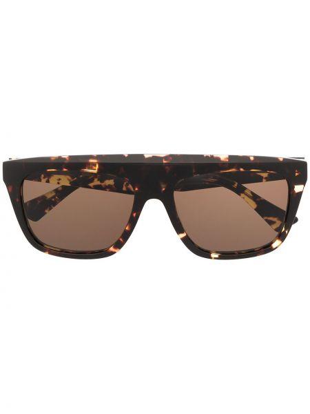 Прямые коричневые солнцезащитные очки квадратные металлические Bottega Veneta Eyewear