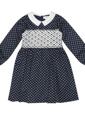 Klasyczna niebieska sukienka mini bawełniana Rachel Riley