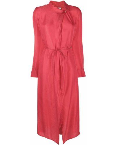 Шелковое с рукавами розовое платье макси Forte Forte