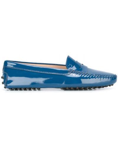 Синие кожаные мокасины Tods