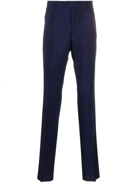 Niebieskie spodnie z wysokim stanem wełniane Mp Massimo Piombo