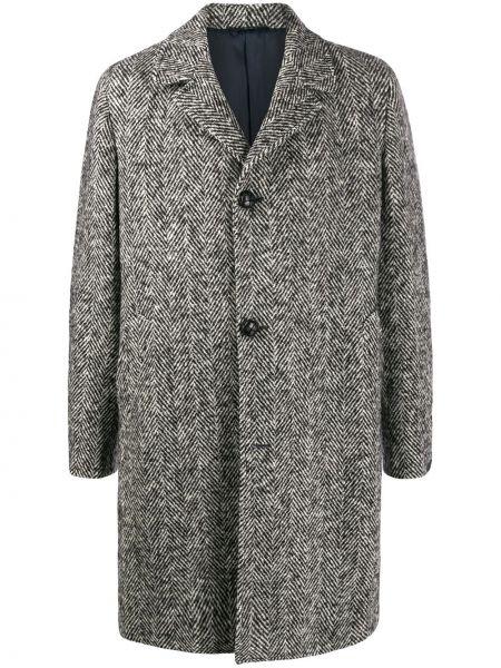 Czarny płaszcz z wiskozy w paski Mp Massimo Piombo