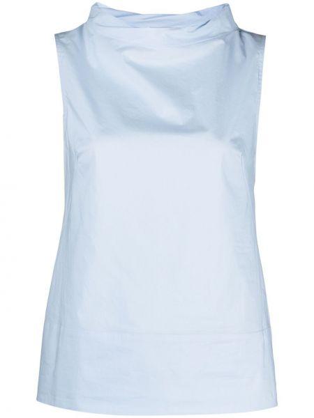 Синяя блузка без рукавов с воротником Antonelli