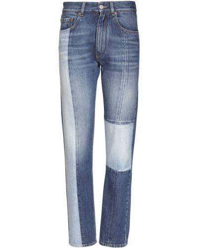 Хлопковые синие прямые джинсы с карманами с заплатками Givenchy