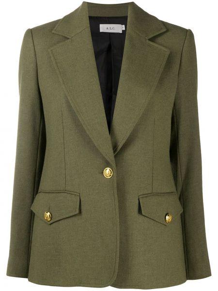 Зеленый однобортный удлиненный пиджак с карманами A.l.c.