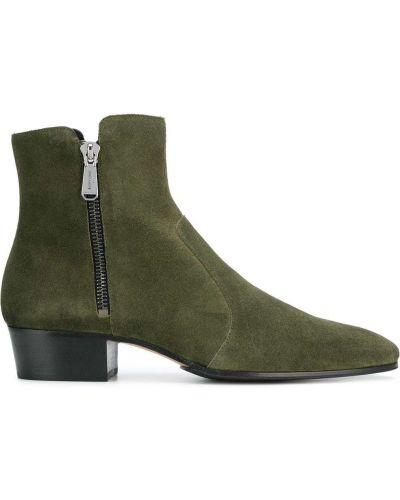 Зеленые кожаные ботинки на каблуке Balmain