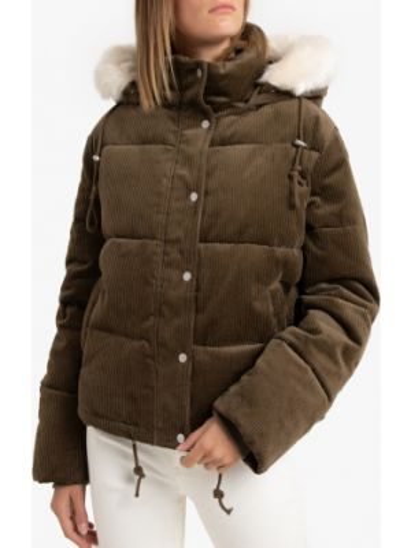 Куртка с капюшоном стеганая вельветовая La Redoute