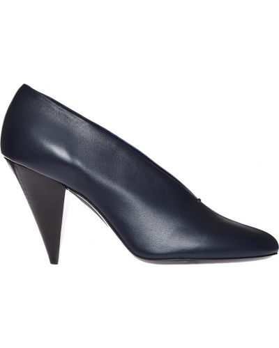 Туфли на каблуке кожаные синий Celine