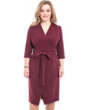Деловое платье бордовый с поясом Modellos