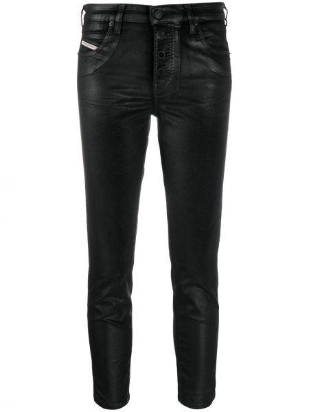 Хлопковые облегающие черные укороченные джинсы Diesel