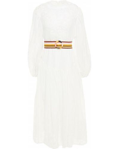 Белое платье миди с поясом с вышивкой Zimmermann
