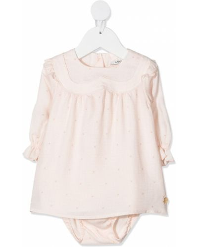 Розовое платье с рукавами круглое из вискозы с круглым вырезом Lanvin Enfant