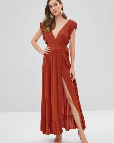 Платье макси с оборками лососевый Zaful