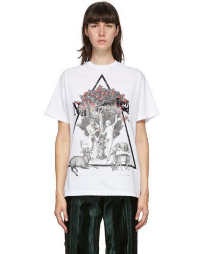 Bawełna biały koszula z krótkim rękawem z kołnierzem krótkie rękawy Christopher Kane