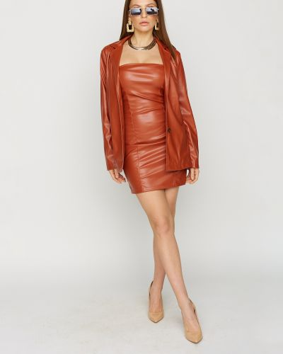 Кожаное платье мини Karree