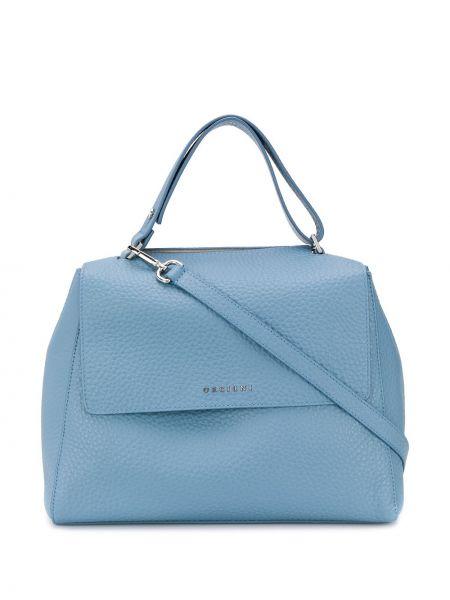 Кожаная синяя сумка-тоут на молнии с карманами Orciani