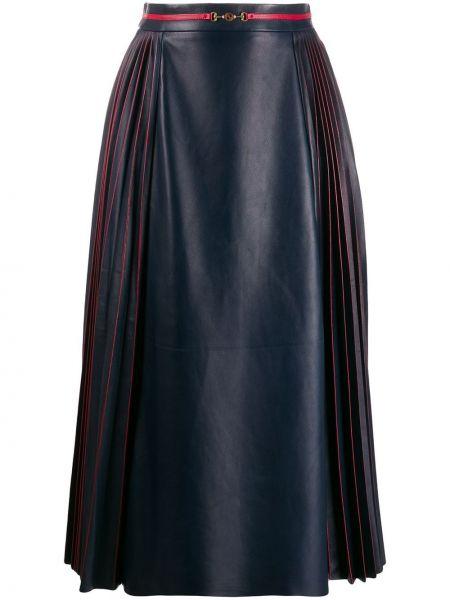 Расклешенная синяя плиссированная юбка со складками на молнии Gucci