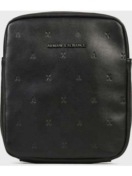 Черная кожаная сумка на молнии Armani Exchange