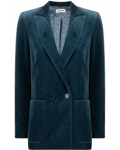Бархатный синий удлиненный пиджак с карманами Zadig&voltaire
