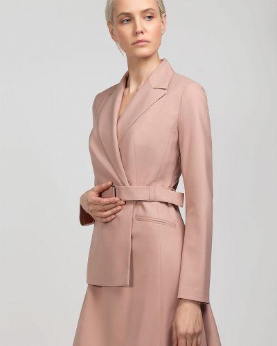 Платье с поясом розовое платье-пиджак Vassa&co