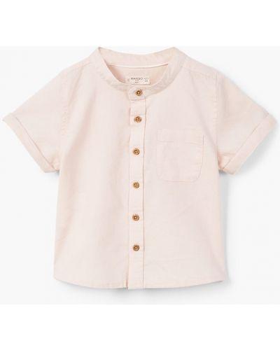 Рубашка льняной с узором Mango Kids