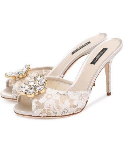 Белое сабо на шпильке Dolce & Gabbana