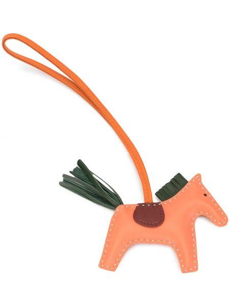 Оранжевый с ремешком кожаный брелок Hermes