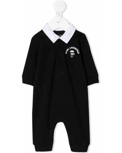 С рукавами черный ромпер с потайной застежкой с воротником Karl Lagerfeld Kids