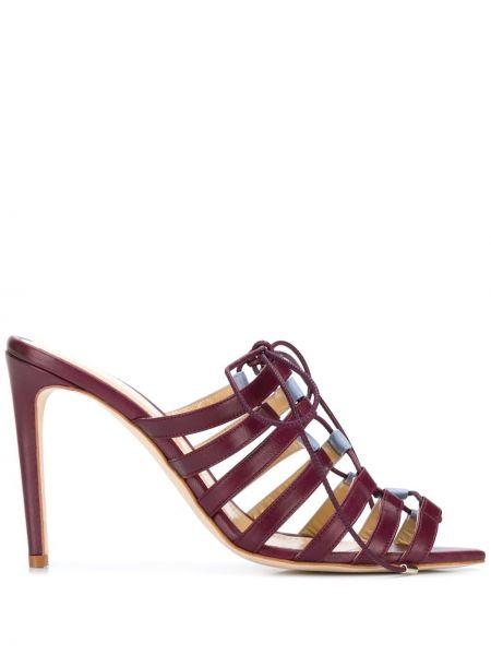 Кожаные красные открытые босоножки на высоком каблуке на каблуке Chloe Gosselin