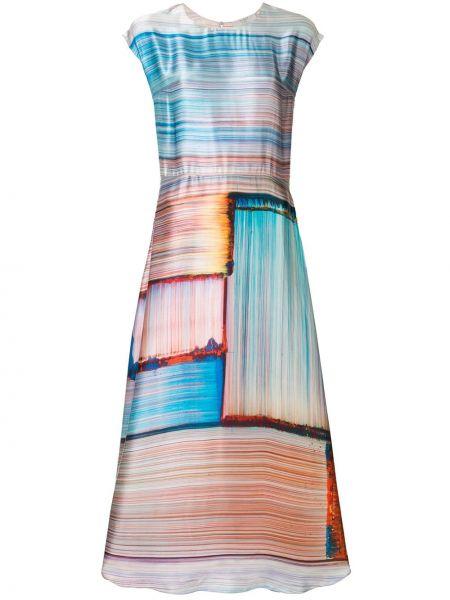 Расклешенное приталенное платье миди на пуговицах с вырезом Poiret