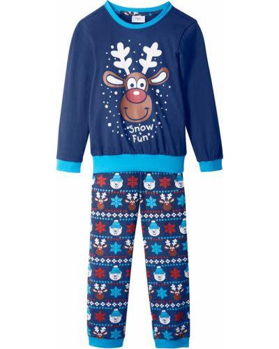 Мягкая синяя хлопковая пижама с брюками Bonprix