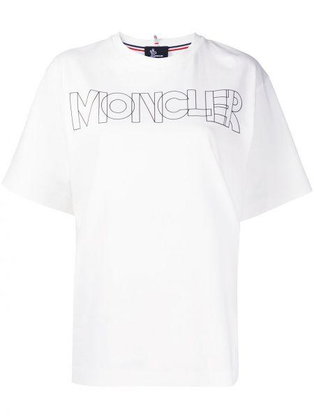 Хлопковая с рукавами белая рубашка Moncler Grenoble