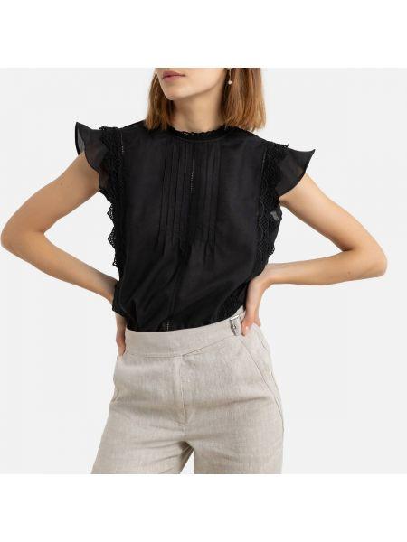 Черная кружевная блузка без рукавов с воротником на пуговицах La Redoute
