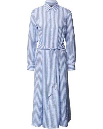 Sukienka w paski - niebieska Polo Ralph Lauren