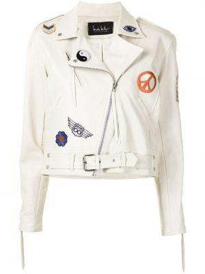 Белая кожаная куртка байкерская Nicole Miller