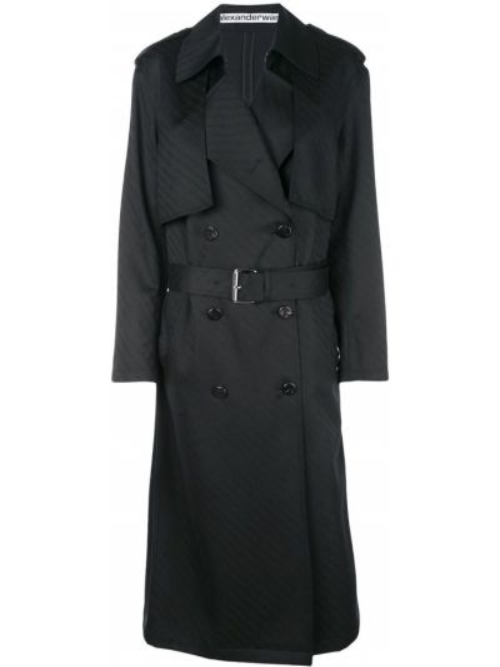 Klasyczny prosto wełniany długi płaszcz z kołnierzem Alexander Wang