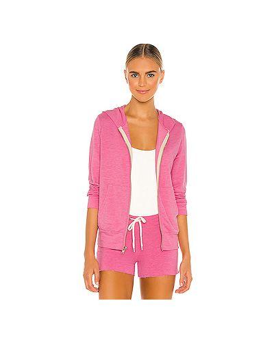 Махровый розовый свитер на молнии с карманами Monrow