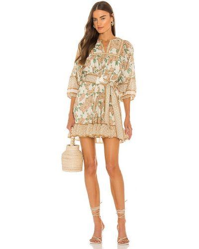 Beżowa sukienka mini z printem Cleobella