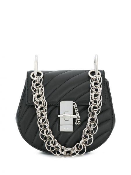 Klasyczny czarny torba kosmetyczna prążkowany z prawdziwej skóry Chloe