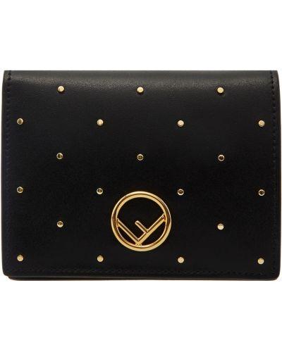 Кожаный кошелек черный пластиковый Fendi