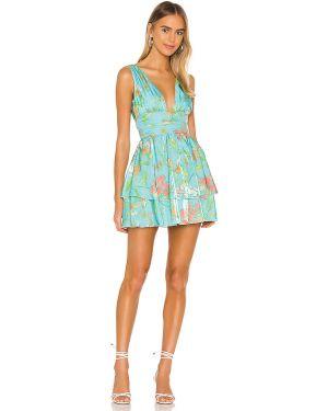 Sukienka mini z suwakiem z falbankami Majorelle
