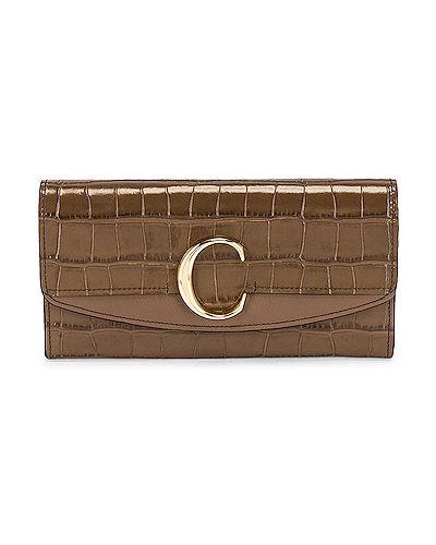 Złota kopertówka - zielona Chloe