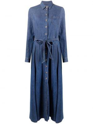 Прямое синее платье макси с воротником Philipp Plein