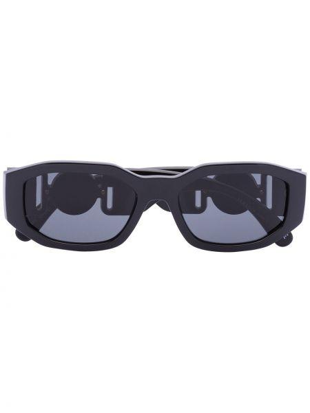 Прямые черные солнцезащитные очки прямоугольные с завязками Versace Eyewear