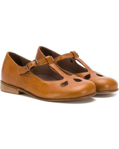 Кожаные коричневые сандалии с пряжкой Pépé Kids