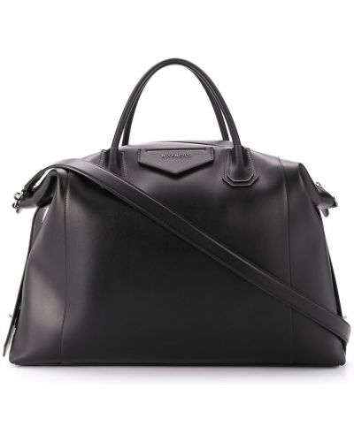 Черная кожаная сумка на плечо на молнии Givenchy