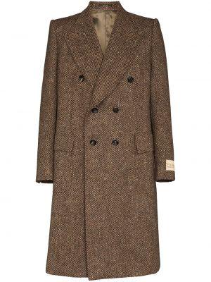 Długi płaszcz wełniany - beżowy Gucci